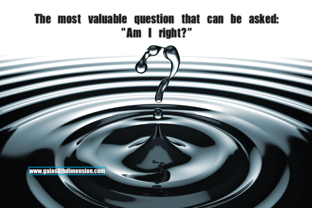 """The most valuable question that can be asked: """"Am I right?"""""""