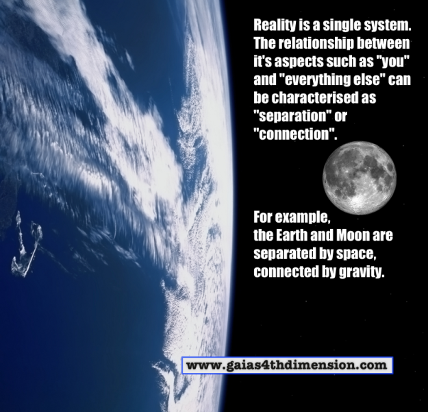 """Reality is a single system. The relationship between it's aspects can be characterized as """"separation"""" or """"connection""""."""